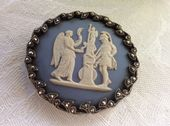 Wedgwood Ceramic Cameo Brooch 1950s in Silver and Marcasite Frame